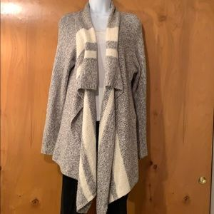 Grey/cream soft long open shawl neck cardigan